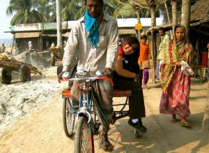 Riding with the gear in Bangladesh.