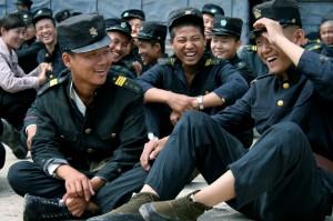 Extras on a North Korean film set